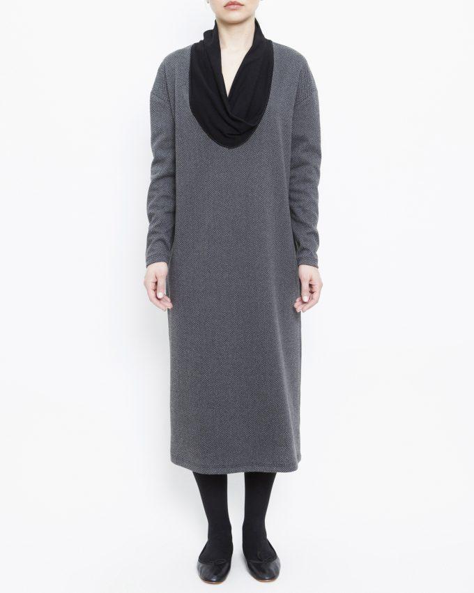 Long-sleeved herringbone dress - 006475822205 - image 1