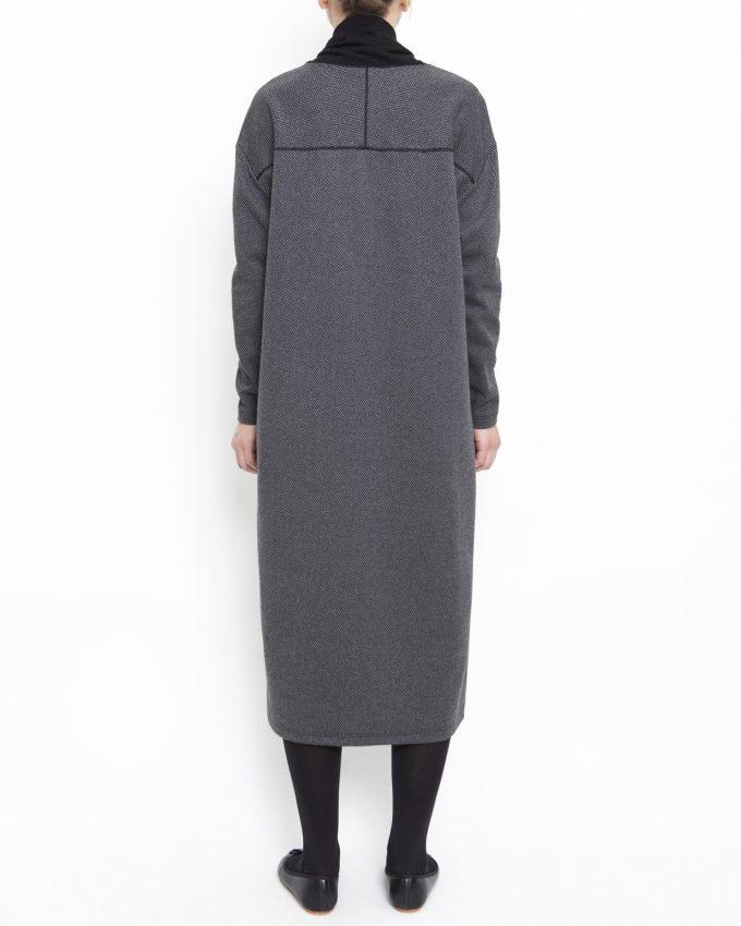 Long-sleeved herringbone dress - 006475822205 - image 2
