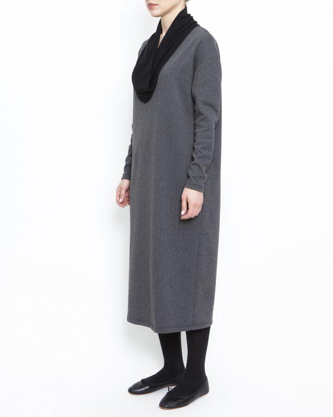 Long-sleeved herringbone dress - 006475822205 - image 3