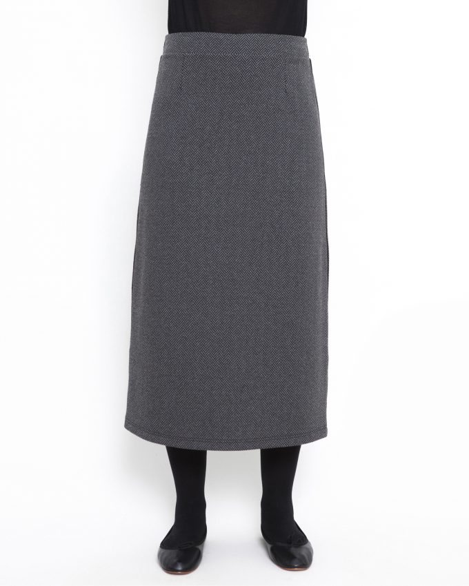 Herringbone skirt with elastic waist - 006474146205 - image 1