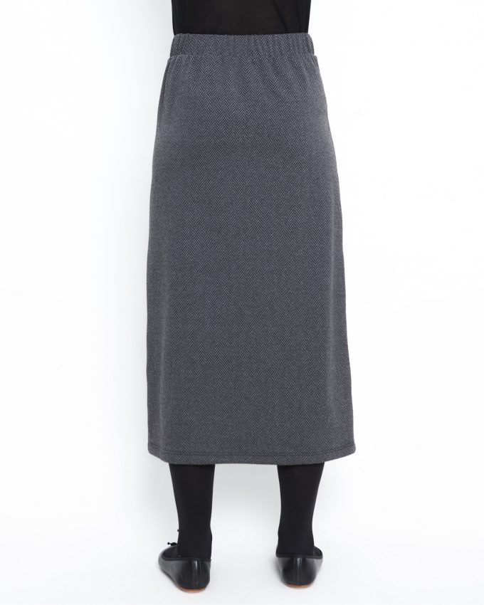 Herringbone skirt with elastic waist - 006474146205 - image 2