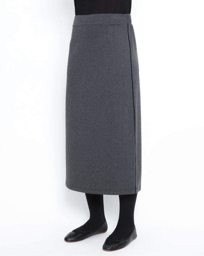 Herringbone skirt with elastic waist - 006474146205 - image 3
