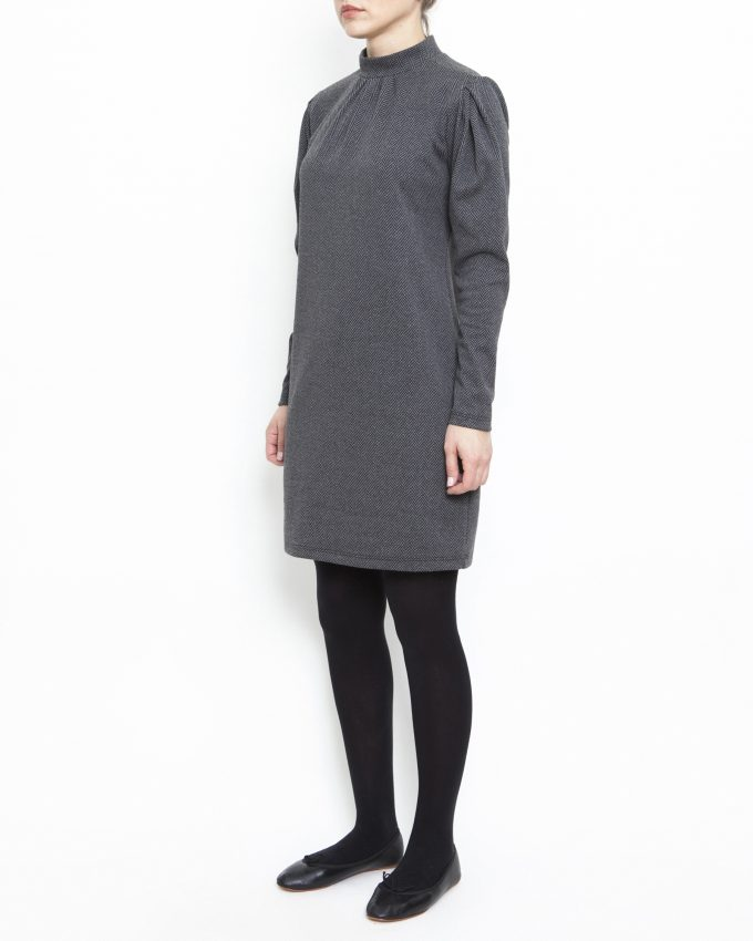 Long-sleeved herringbone dress - 006475821305 - image 3
